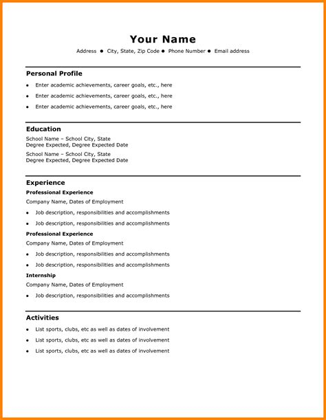 Free Easy Resume Templates by 7 Cv Template Basic Theorynpractice