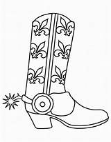 Cowboy Coloring Pages Boots Printable Western Template Coloring2print sketch template