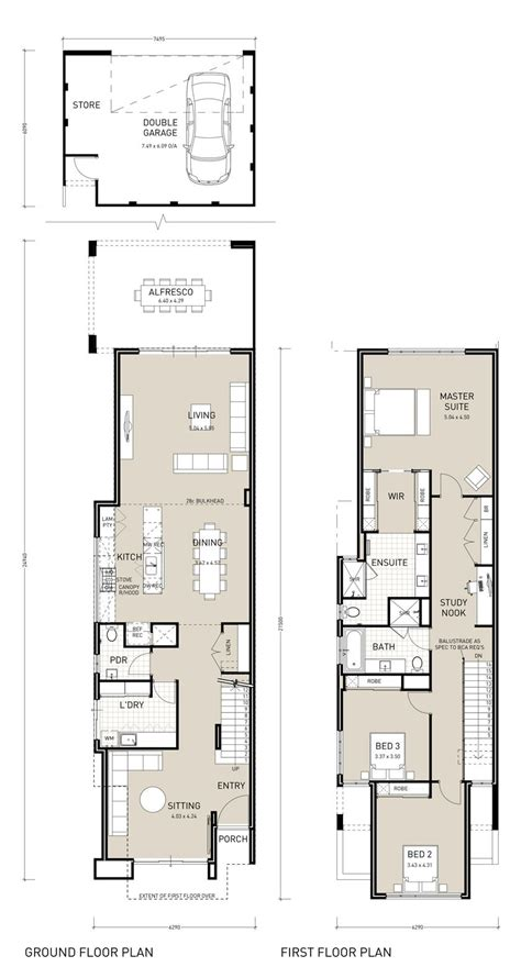 Narrow Two Story House Plans