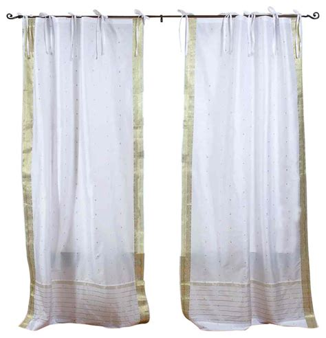 white with gold tie top sheer sari curtain drape panel