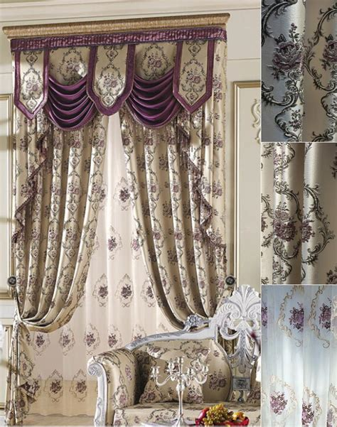 Custom Made Curtains by Custom Beige Purple Embossed Jacquard Ready Made Curtains