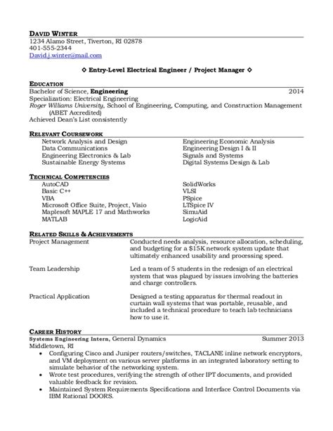 Engineering Resume Sle by New Graduate Electrical Engineering Resume Sales