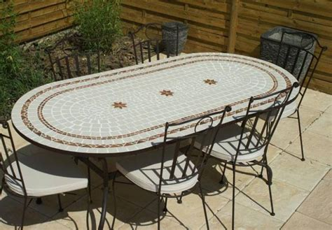 table jardin mosaique ovale 200cm c 233 ramique blanche 2 cercles et ses 3 233 toiles argile cuite
