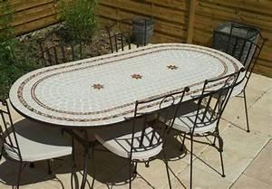 Table Mosaique Fer Forgé : table jardin mosaique ovale 200cm c ramique blanche 2 ~ Dailycaller-alerts.com Idées de Décoration