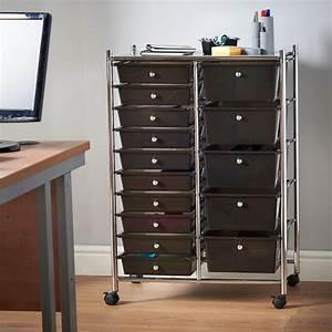 vonhaus, black, 15, drawer, home, office, salon, make, up, mobile, storage, trolley, unit