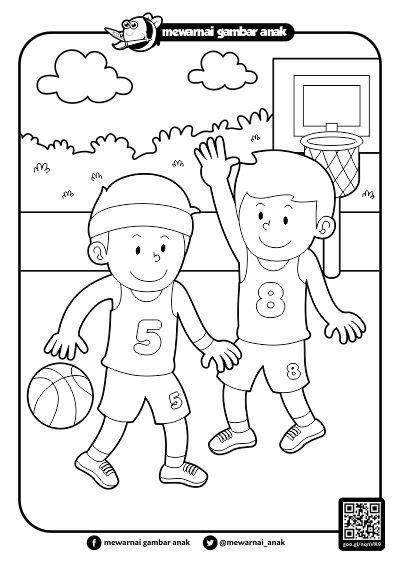 mewarnai gambar anak mewarnai gambar bermain bola basket