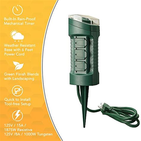 outlet power stake  grounded outlets outdoor light sensor