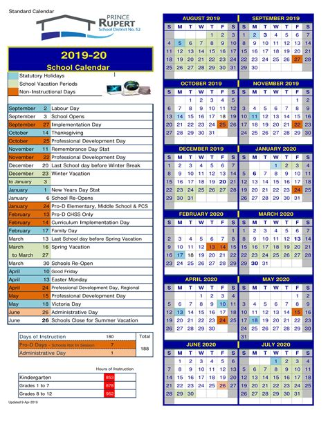 school district prince rupert calendar