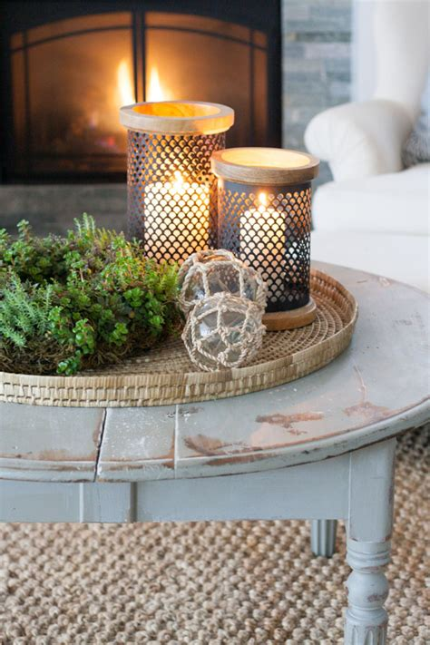 You can always put a tray on one to prevent spilling and use that. 29 Tips for a perfect coffee table styling - BelivinDesign