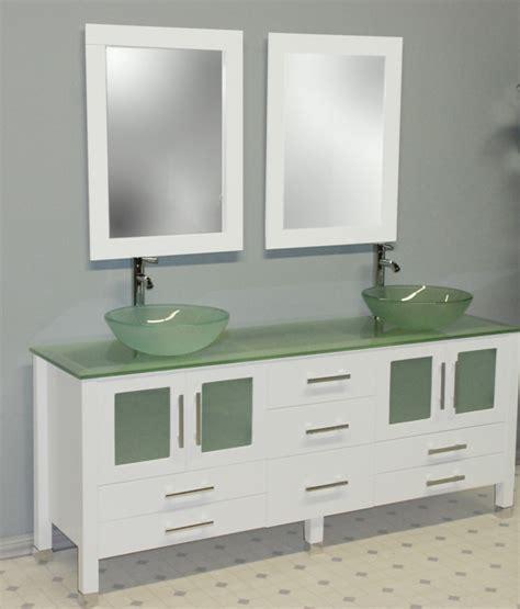Cambridge 71 Inch White Glass Double Sink Bathroom Vanity Set