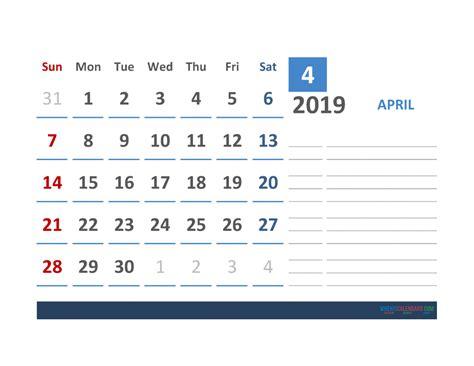 april calendar template space notes printable
