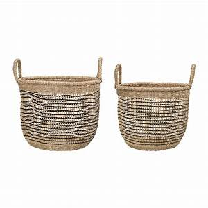 Buy, Bloomingville, Woven, Seagrass, Baskets, -, Natural, Black