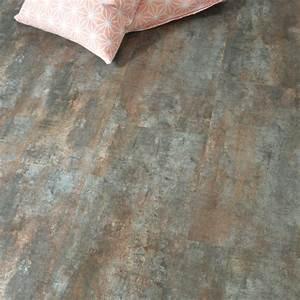 Dalle Pvc Cuisine : dalle sol pvc clipsable click 5g aspect acier vintage ~ Premium-room.com Idées de Décoration