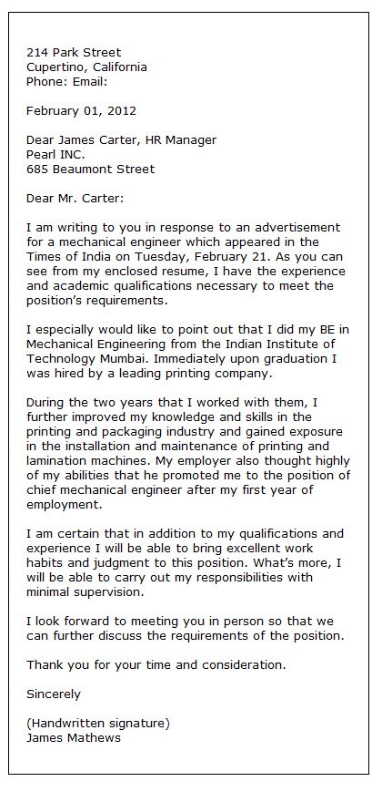 sample application letter formal letter writing