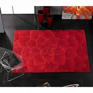tapis kalista en laine rouge carving 140x200 With tapis laine rouge