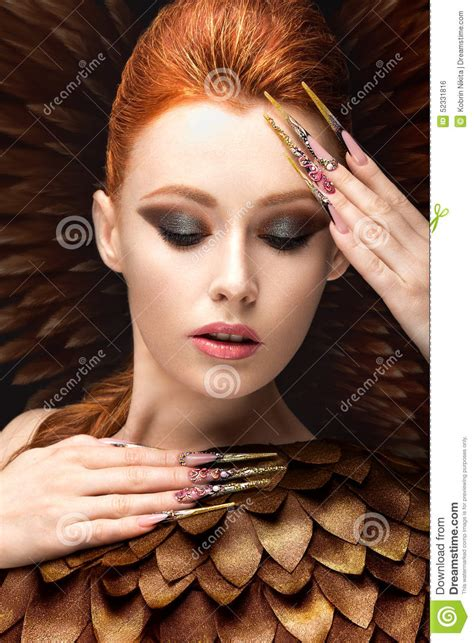 Beautiful Girl In The Image Of The Phoenix With Bright