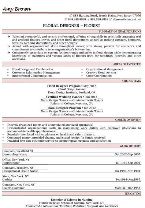 Floral Designer Resume by 44 Best Resume Sles Images On Resume