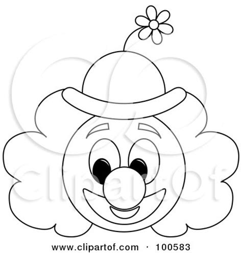 High Resolution Sports Images Coloring Page Outline Of A Clown Face With A Floral Hat Posters Art Prints By Pams Clipart