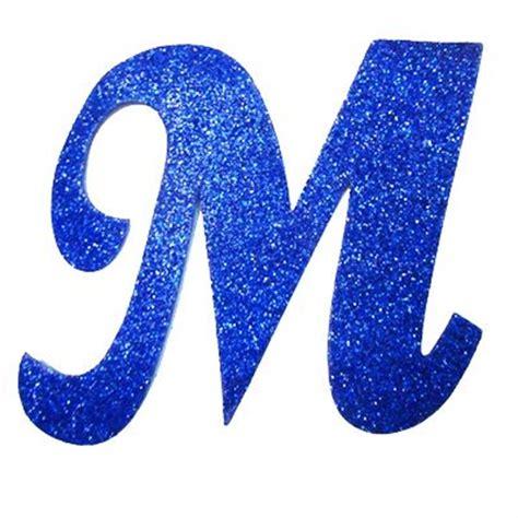 letra cursiva em gliter m azul alfabet 10 aparte