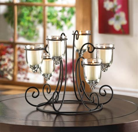 candle holder centerpiece iron candle holder display with 6 glass votive cups