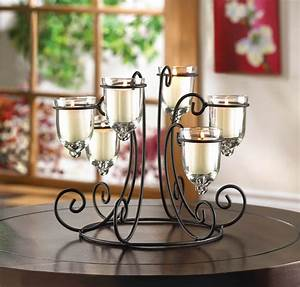 iron candle holder display with 6 glass votive cups With kitchen cabinets lowes with wrought iron candle holder centerpiece