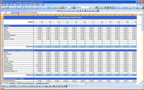 monthly spending spreadsheet excel spreadsheets group