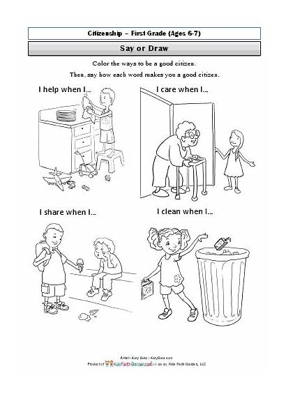 Citizenship Coloring Pages Citizen Worksheet Grade Being