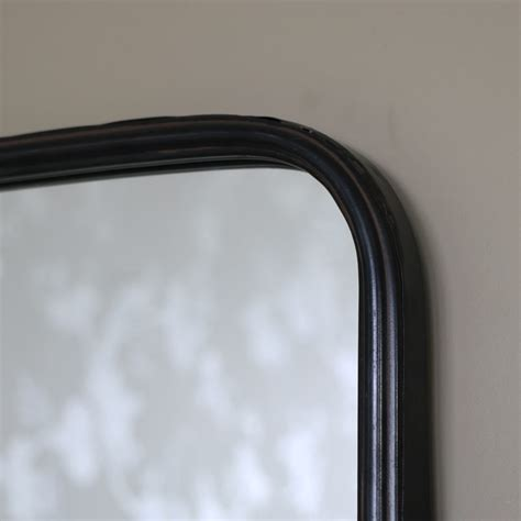 black metal industrial wall mirror  shelf windsor browne