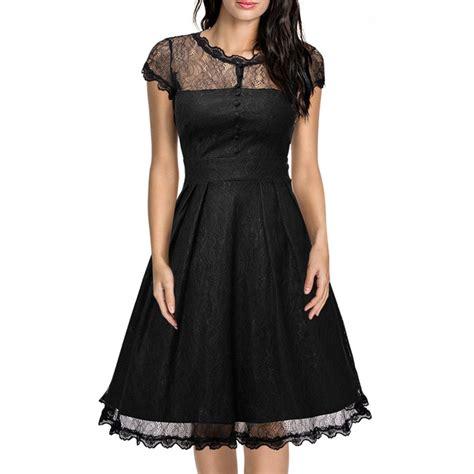 Womens Retro Floral Black Lace A Line Dress Vintage Cap