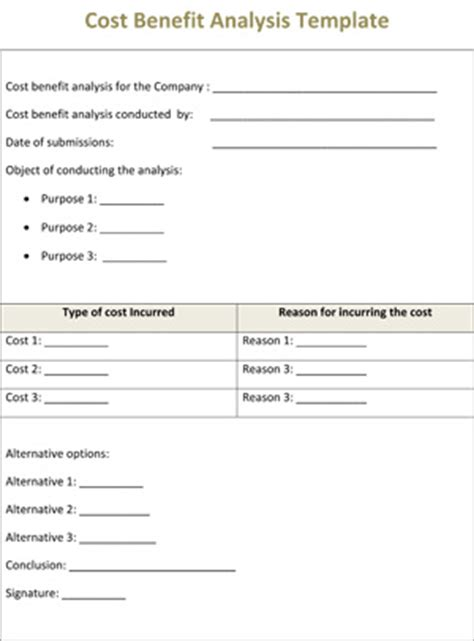 cost benefit analysis template ws templates forms