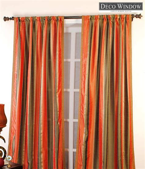 orange striped curtains deco window orange grey striped curtain buy deco