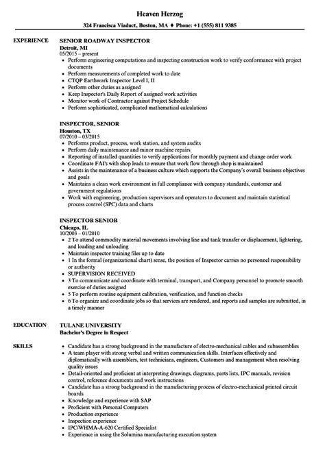 inspector senior resume sles velvet