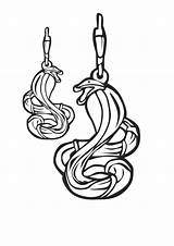 Earrings Template Coloring Jewelry Snake sketch template