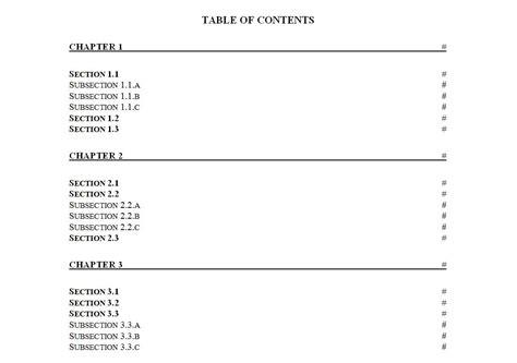 table  contents template table  contents template