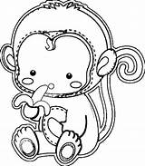 Coloring Pages Monkey Printable Sheets Cute sketch template
