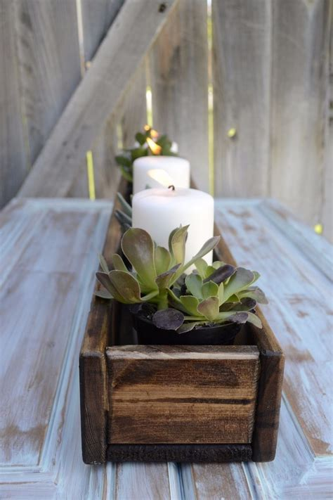 handmade reclaimed wood pallet box centerpiece wedding