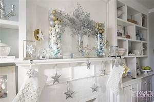 Beautiful, White, Silver, Gold, And, Blue, Holiday, Decor, For, A, Fireplace, Mantle
