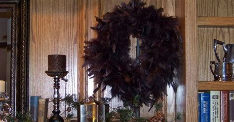 silver trappings     feather wreath cheap