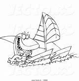 Shark Outline Catamaran Coloring Cartoon Vector Sailing Toonaday sketch template
