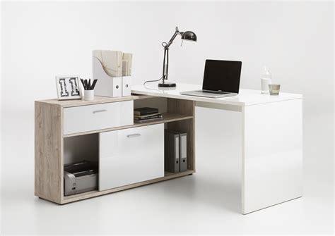 bureau et blanc bureau d 39 angle contemporain chêne blanc laqué