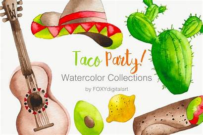 Taco Party Clipart Mexican Watercolor Cart