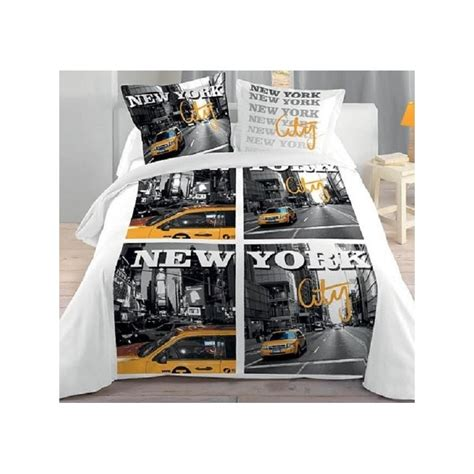 deco chambre ados york city housse couette 2 taies lit 2 personnes