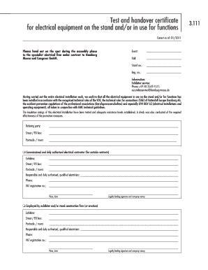 handover certificate fill  printable fillable