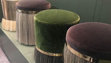 pouffs felted wool timber  brass key design themes