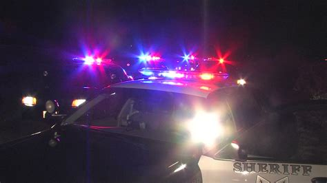 Sheriff's Patrol Cars With Flashing Police Lights Stock