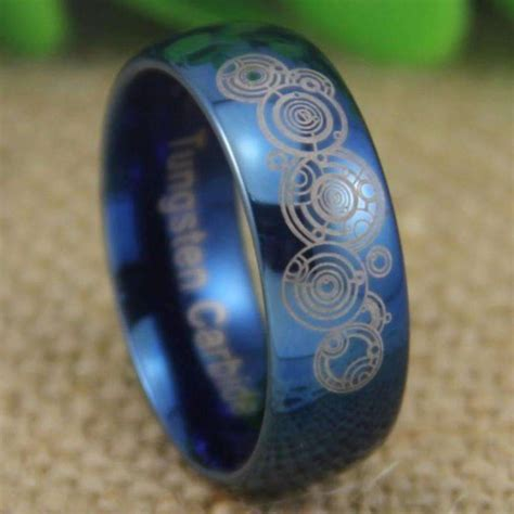 doctor who time lord shiny blue dome wedding ring inspiring wave
