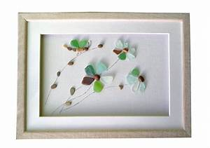Pebble Art — Genuine sea glass flowers and dragonfly