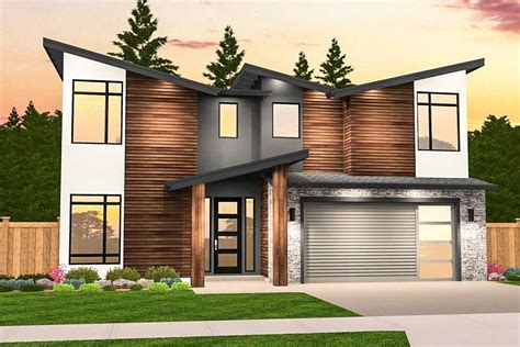 angular modern house plan with 3 upstairs bedrooms