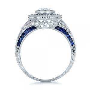 blue sapphire halo engagement rings deco style blue sapphire halo and engagement ring