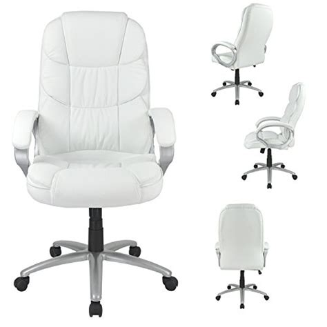 white high back leather executive office desk task